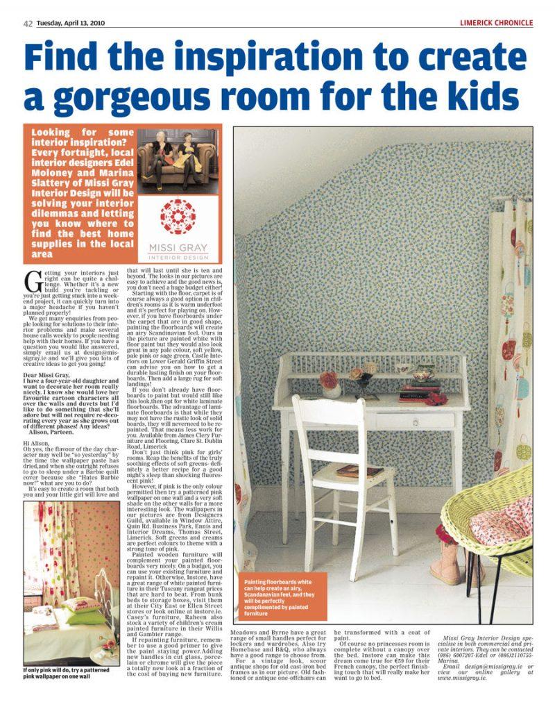 Limerick Chronicle Kids Room Missi Gray